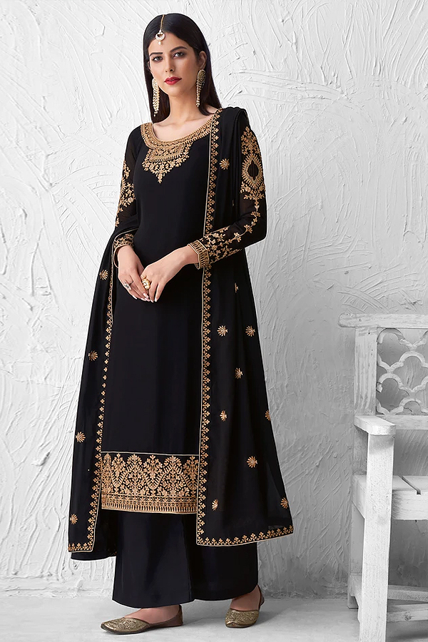 Black Georgette Embroidered Palazzo Suit