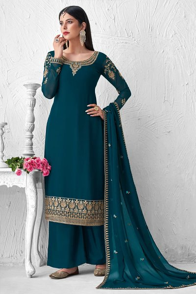 Teal Blue Georgette Embroidered Palazzo Suit