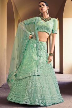 Mint Green Embroidered Lehenga Choli with Sequins work