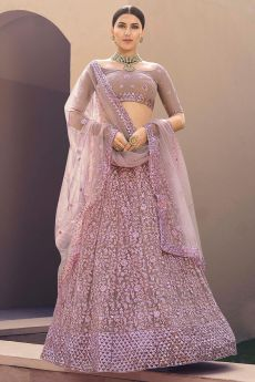 Lilac Floral Embroidered Lehenga Choli with Sequins work