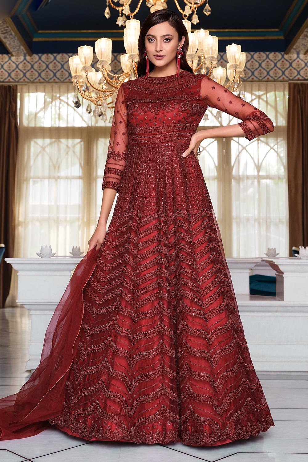 Red Embroidered Net Anarkali Suit