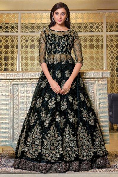 Black Embroidered Net Anarkali Dress with Dupatta