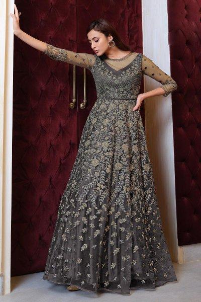 Grey Embroidered Net Anarkali Dress with Dupatta