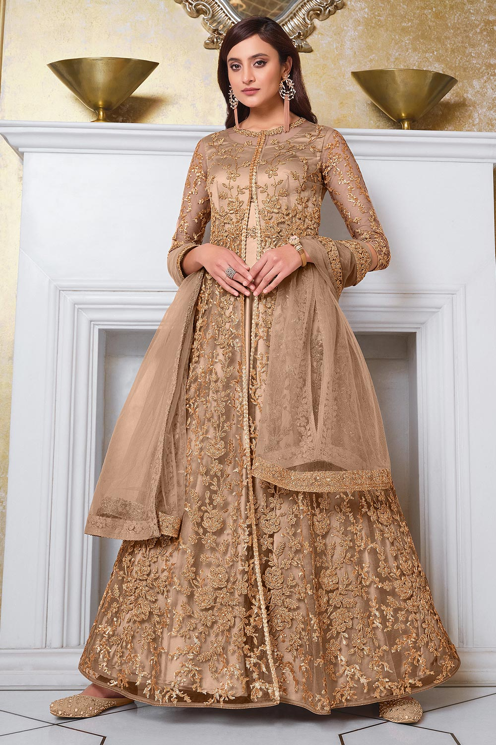 Caramel Brown Jacket Style Anarkali with Lehnga/Pant