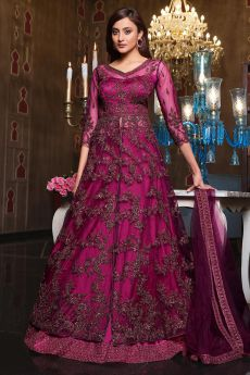 Plum Front Slit Anarkali with Lehnga/Pant