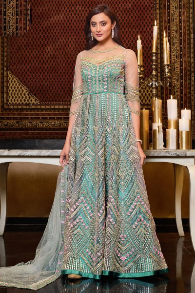 Turquoise Net Embroidered Anarkali Suit