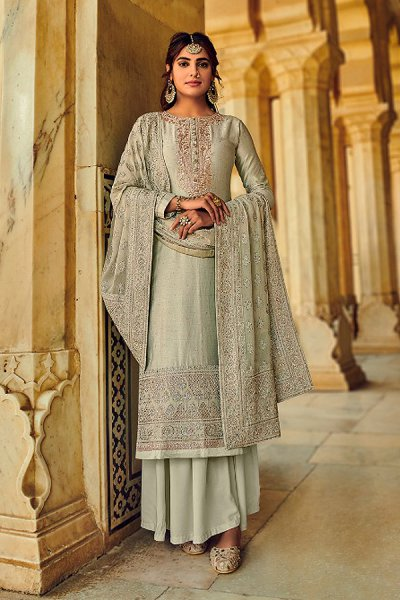 Sage Green Silk Embroidered Palazzo Set with Pure Georgette Dupatta