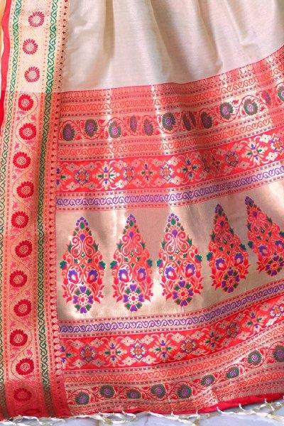 Off White Silk Saree