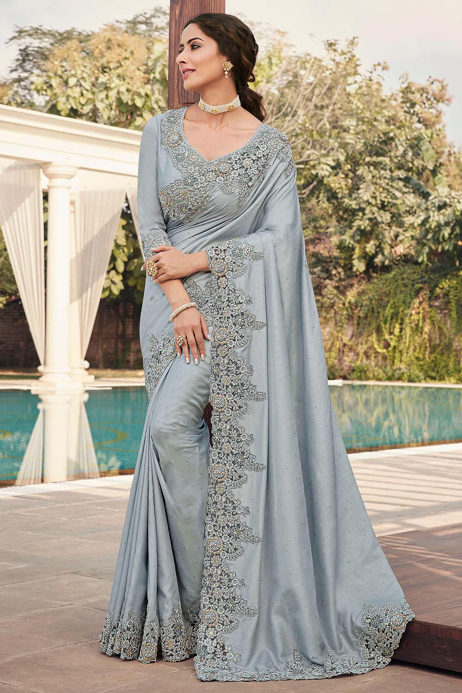 Silver Grey Silk Saree