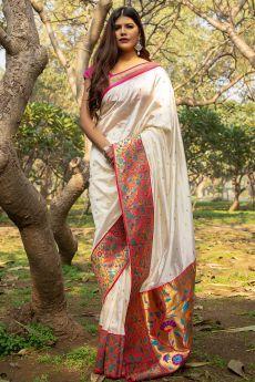 White Banarasi Silk Saree