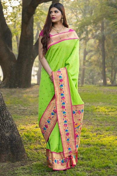 Parrot Green Banarasi Silk Saree