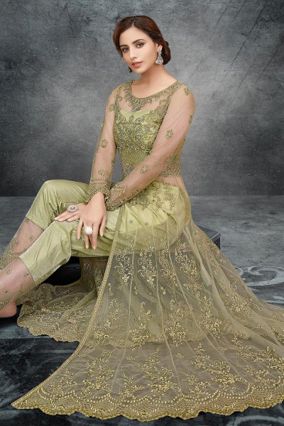 Kiwi Green Net Embroidered Anarkali with Lehenga/Pant
