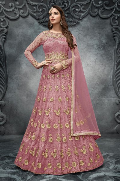 Pink Net Embroidered Anarkali Suit