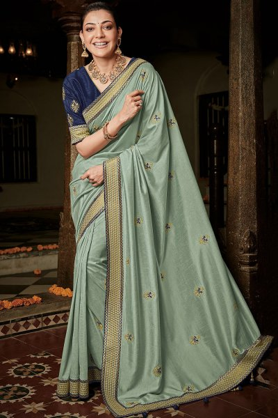 Sage Silk Embroidered Saree