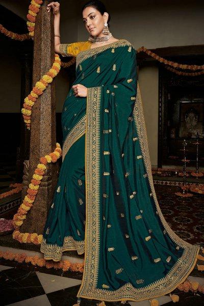 Teal Green Embroidered Silk Saree