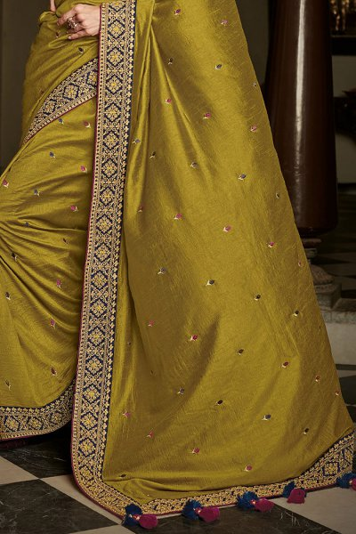 Dark Mustard Silk Embroidered Saree