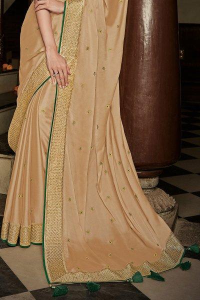 Beige Silk Embroidered Saree