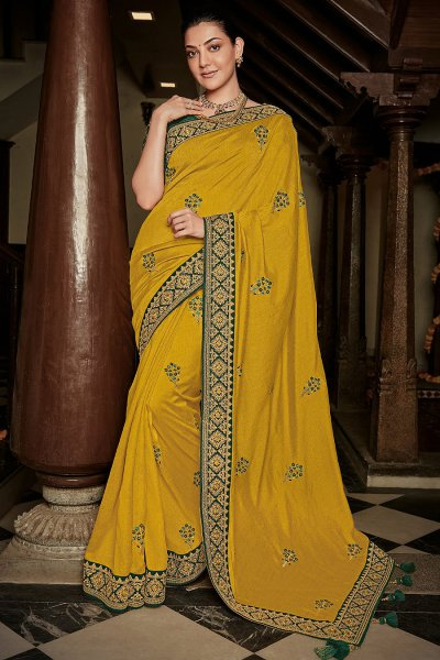 Mustard Silk Embroidered Saree