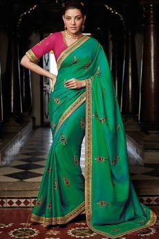 Seafoam Green Silk Embroidered Saree