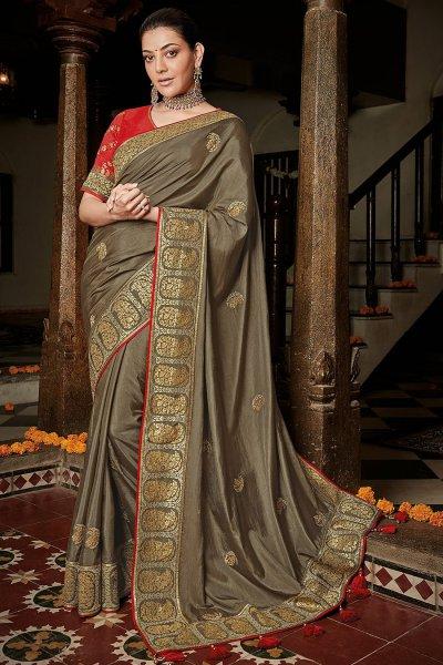 Khaki Brown Silk Embroidered Saree