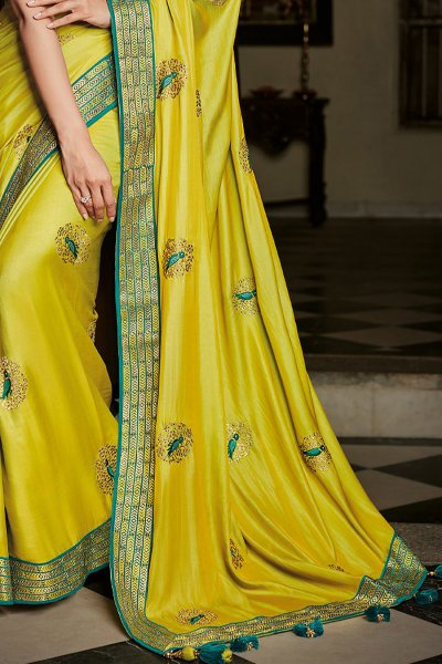 Lime Yellow Silk Embroidered Saree