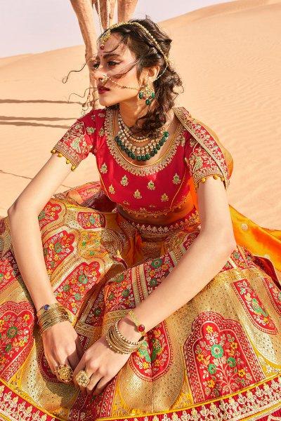 Yellow and Red Zari Embroidered Silk Lehenga Choli with Kundan Work