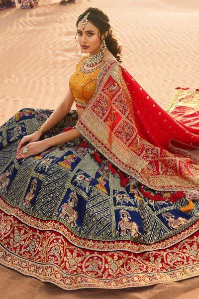 Blue and Red Zari Embroidered Silk Lehenga Choli with Kundan Work