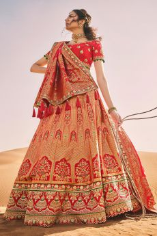Dark Peach and Red Zari Embroidered Silk Lehenga Choli with Kundan Work