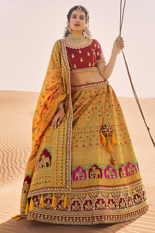 Mustard and Red Zari Embroidered Silk Lehenga Choli with Kundan Work
