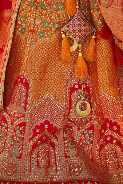 Red Zari Embroidered Wedding Silk Lehenga Choli with Kundan Embellishments