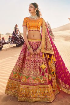 Magenta and Mustard Zari Embroidered Silk Lehenga Choli with Kundan Work