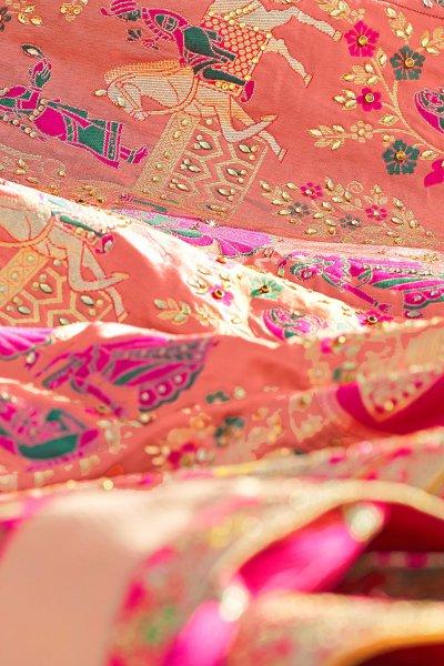 Peach Zari Embroidered Silk Lehenga Choli with Kundan Work