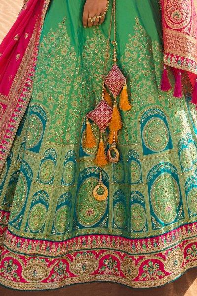 Mint and Teal Zari Embroidered Silk Lehenga Choli with Kundan Work