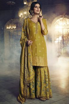 Mustard Green Jacquard Weaved Silk Sharara Suit