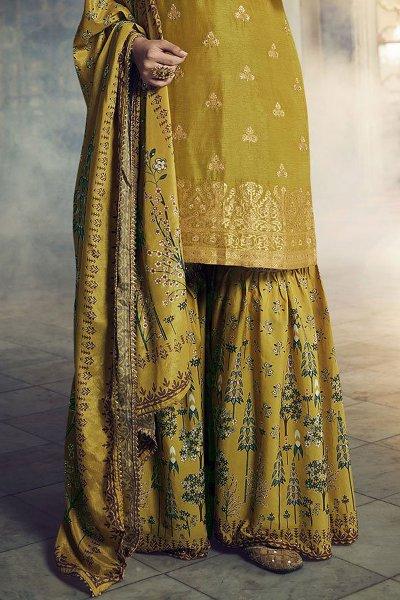 Mustard Green Jacquard Weaved Silk Sharara Suit