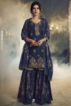 Navy Blue  Jacquard Weaved Silk Sharara Suit