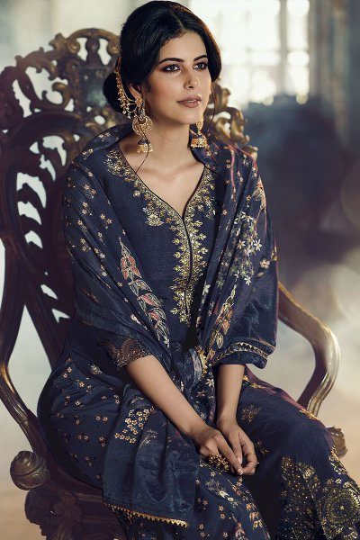 Navy Blue  Jacquard Weaved Silk Sharara Suit