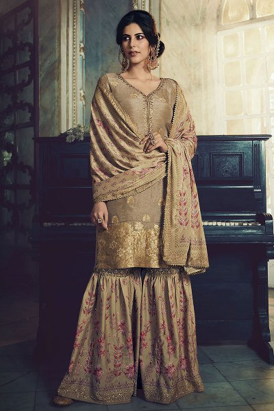 Khaki Brown Jacquard Weaved Silk Sharara Suit