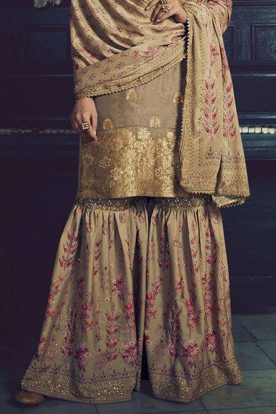 Khaki Brown Jacquard Weaved Silk Sharara Suit