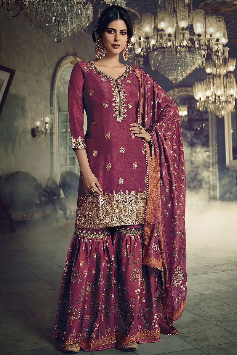 Plum Jacquard Weaved Silk Sharara Suit