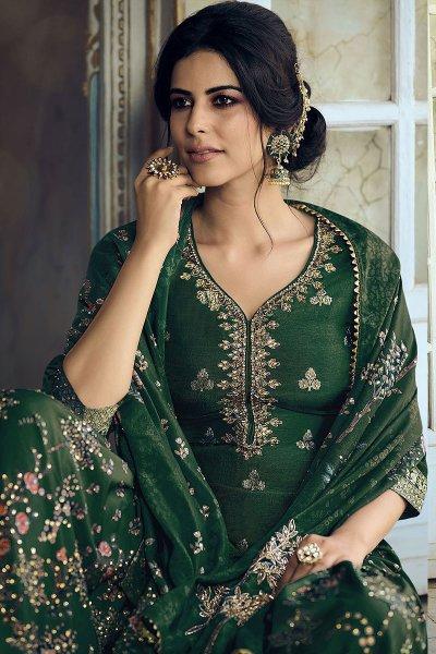 Green Jacquard Weaved Silk Sharara Suit