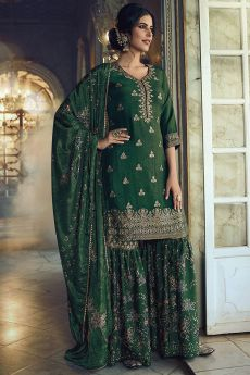 Green Jacquard Weaved Silk Sharara Suit