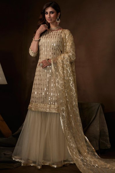 Off White Sequin Embellished Indian Net Suit