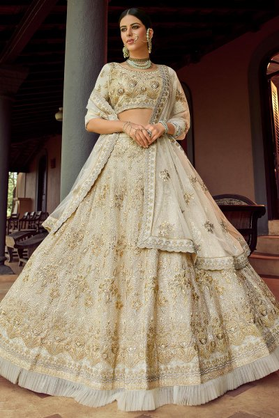 Off White Georgette Lehenga Choli with Zari and Sequin Embellishments