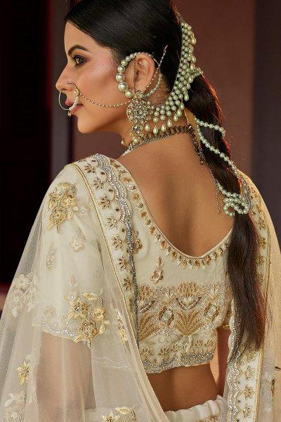 Off White Georgette Lehenga Choli with Zari and Sequin Embellishments
