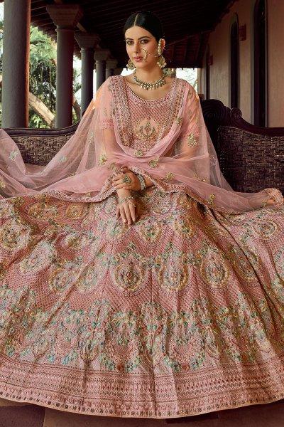 Pink Peach Resham Embroidered Georgette Lehenga Choli