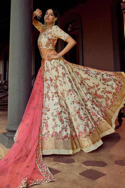 Off White Swarovski Embellished Georgette Lehenga Choli