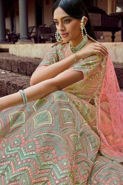 Sage Green Resham Embroidered Lehenga Choli with Gota work