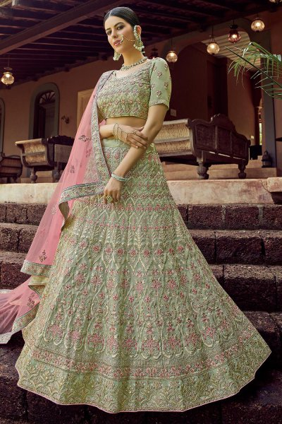 Sage Green Resham Embroidered Lehenga Choli with Gota work