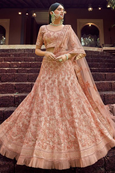 Peach Resham Embroidered Georgette Lehenga Choli